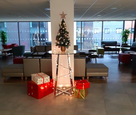 Christmas Tree display at student accommodation